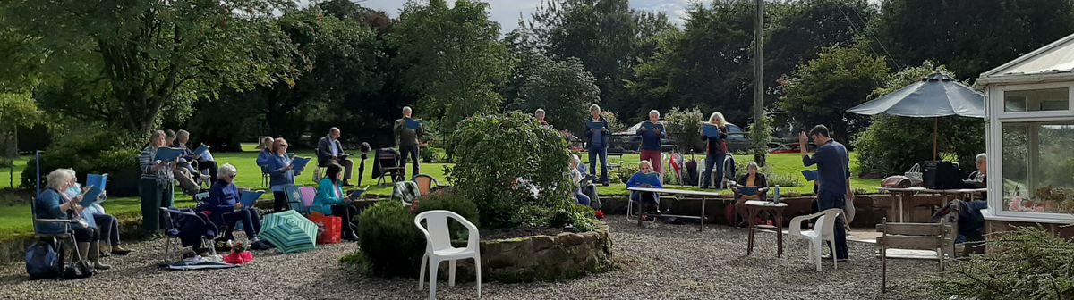 Shrewsbury Cantata Choir rehearsing outdoors