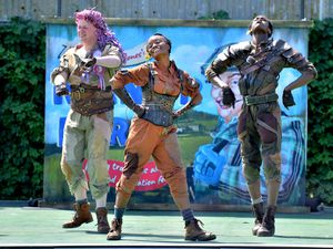 Members of the National Youth Theatre Animal Farm cast rehearsing for the show, but without their full costumes on