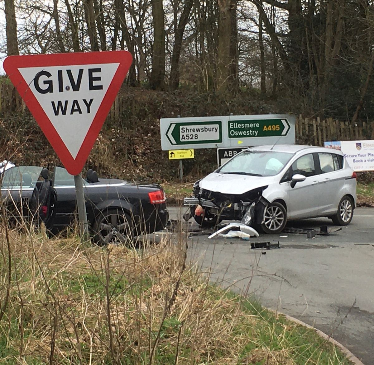The road was temporarily closed following the crash. Pic: Mike Ford