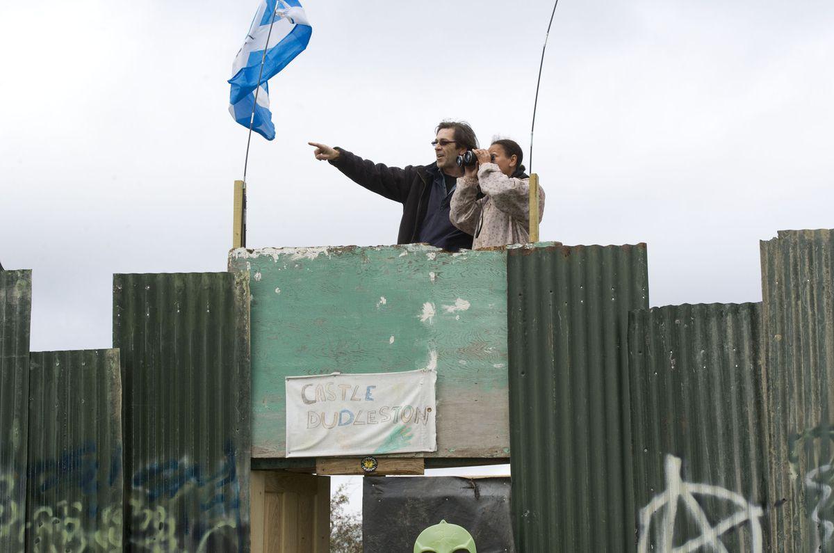 Protestors at the anti-fracking camp at Dudleston