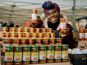 Christiana Annancy who runs her Mukaase stall in Shrewsbury Farmers Market