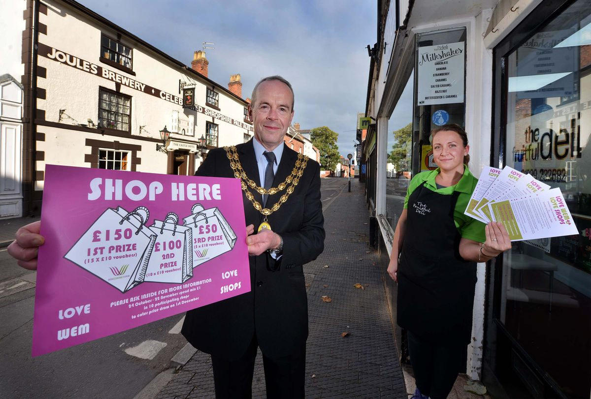 Mayor Phil Glover and Kasia Wolarska launch the Love Wem, Love Shops campaign