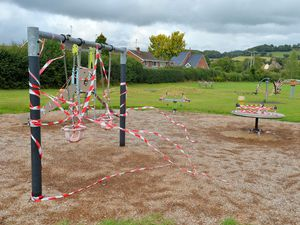 The children's park near the caravan site, now closed off