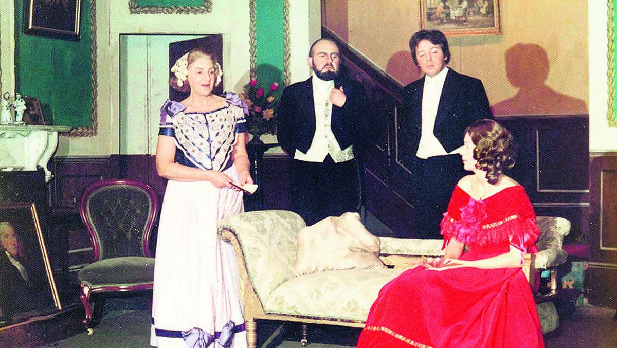 The 1975 production of The Heiress. From left: Jose Grant, Don Mansell, Harry Durnall, and Angela Mansell.