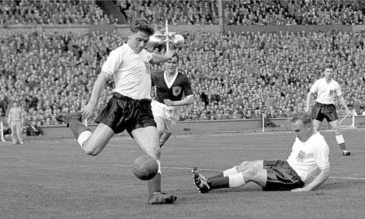 On the ball  - Duncan Edwards playing for England