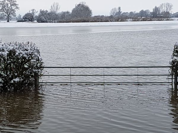 Snow meets flooding in Melverley. Photo: Melanie Hadwick