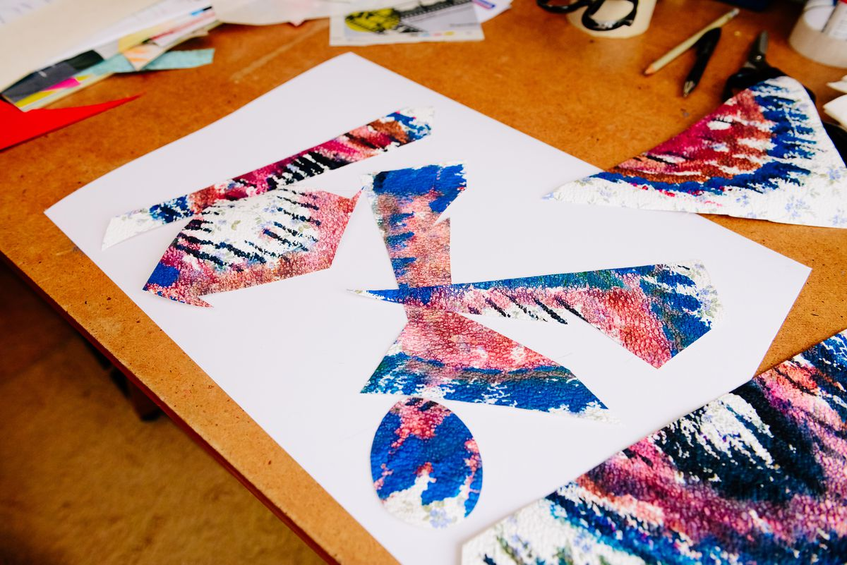 Work in progress – Malcolm can work for hours at a time on his colourful collages