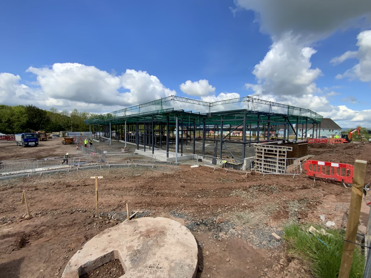 Work taking place on the new Ludlow Sainsbury's store is moving on