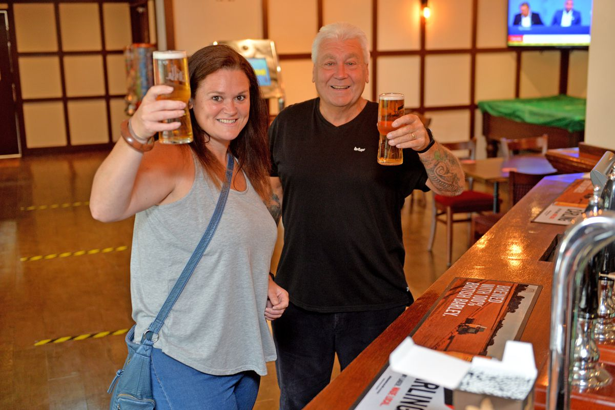 David and Louella Hartshorn at the reopening of The Wild Pig
