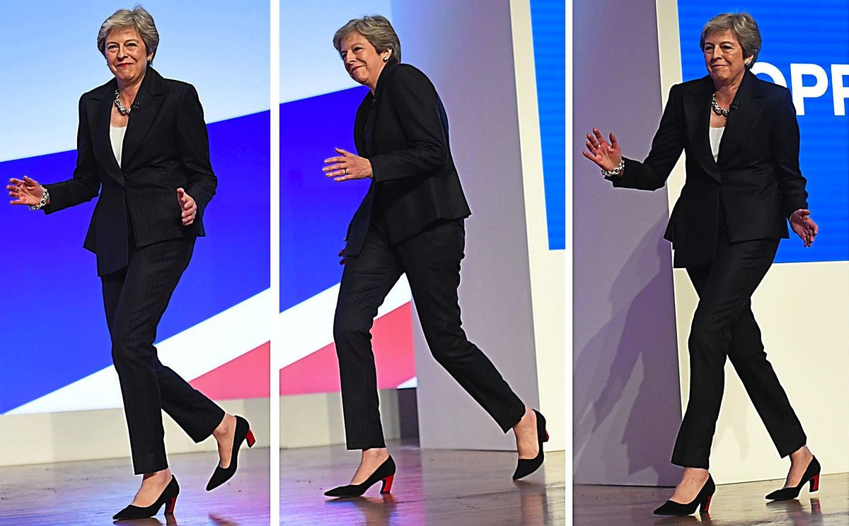 Dancing  Queen – Theresa May makes her entrance at the conference