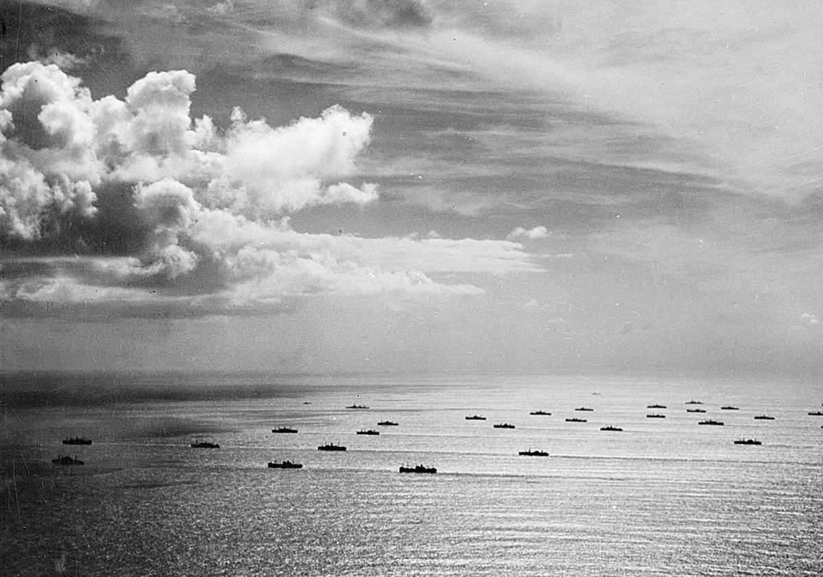 Atlantic convoys were lucky if they enjoyed tranquil weather like this