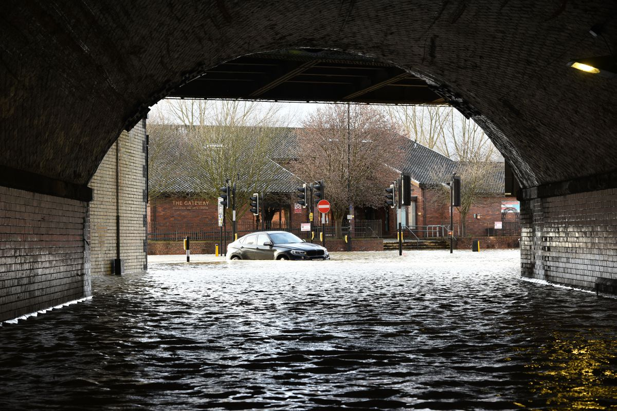 Flooding in Chester Street, Shrewsbury, on Monday afternoon. Photo: Russell Davies