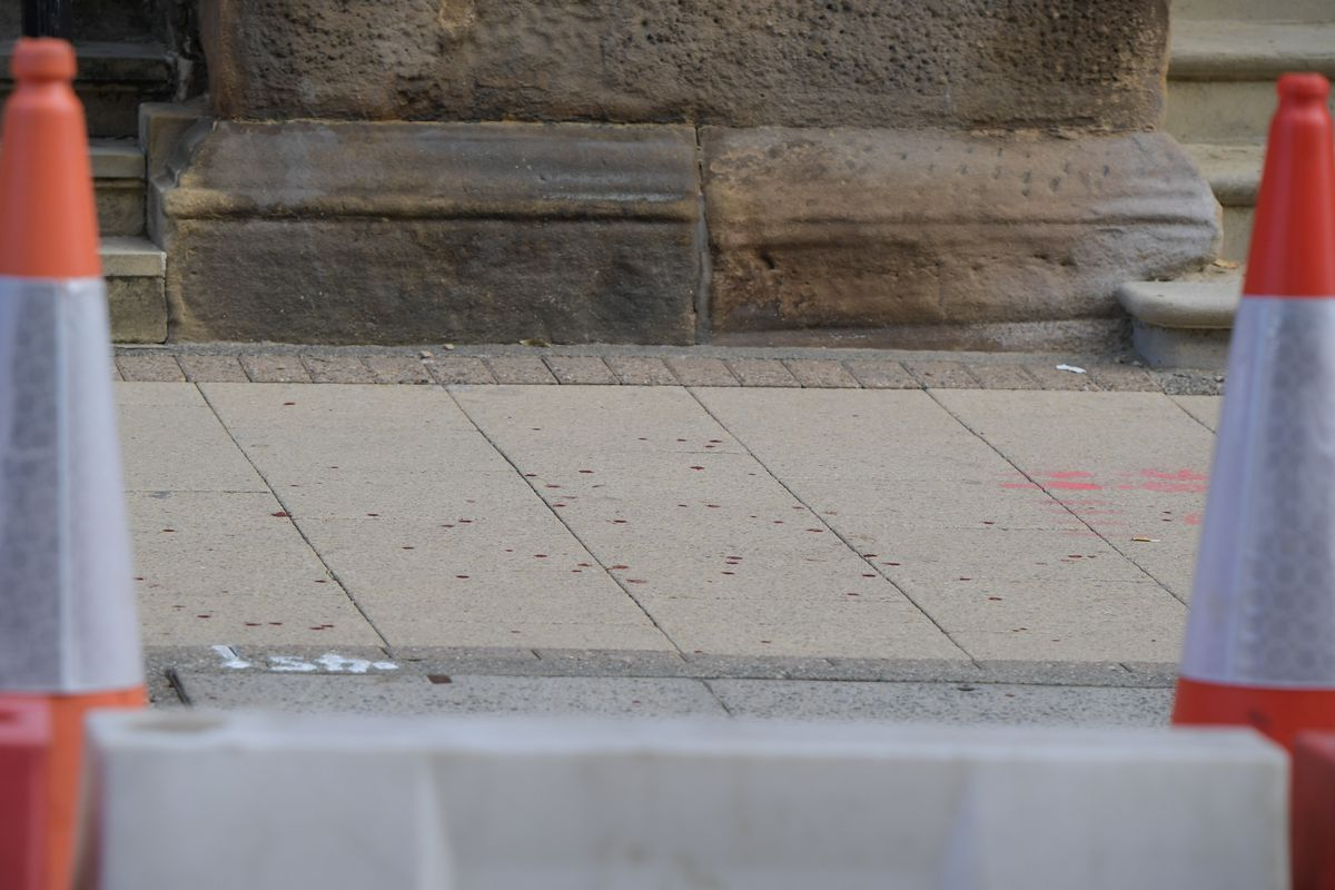 What appeared to be a trail of blood in Colmore Row. Photo: SnapperSK