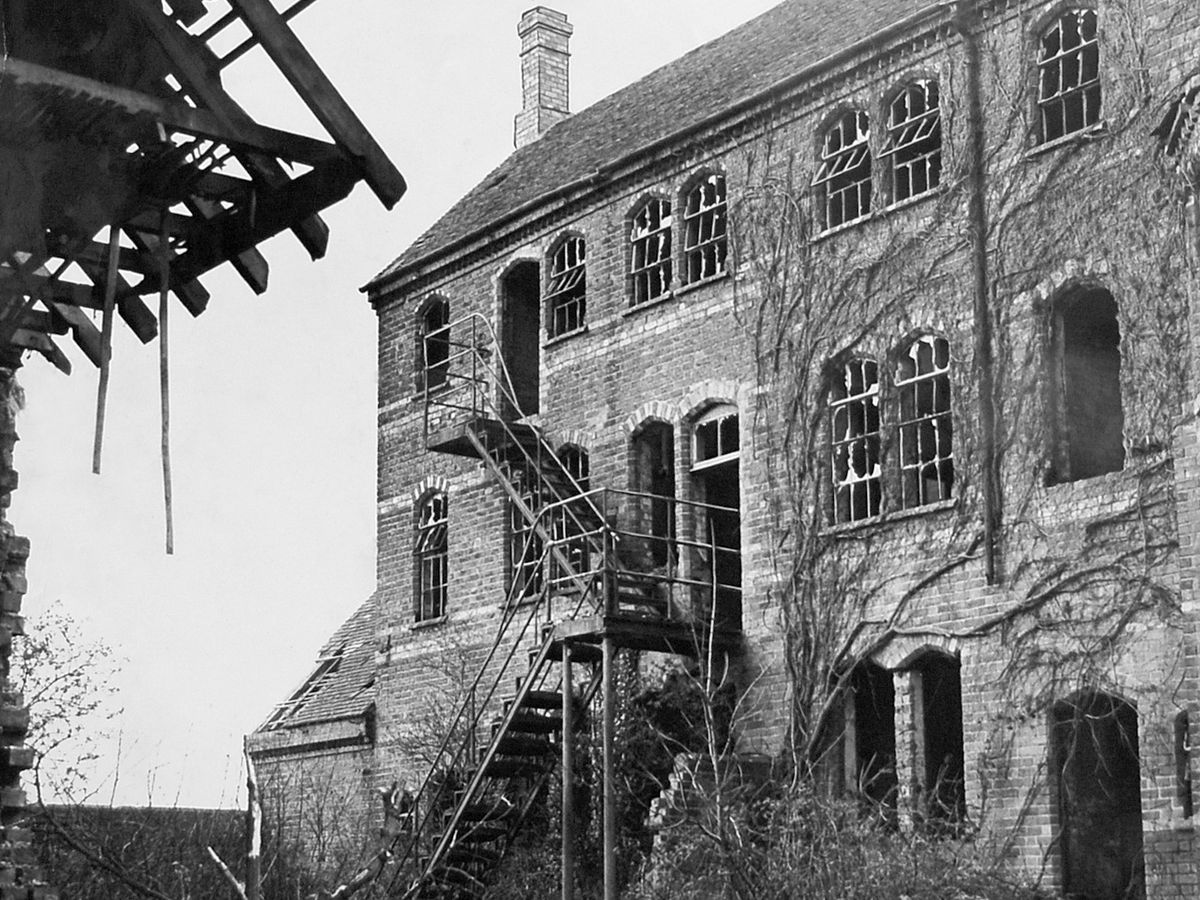 At the time of this March 1957 picture the workhouse was a shell, but some buildings were being used for packing eggs.