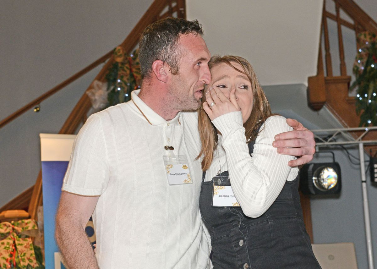 Siobhan Russell and Daniel Humphries celebrate winning the Win Your Dream Wedding event