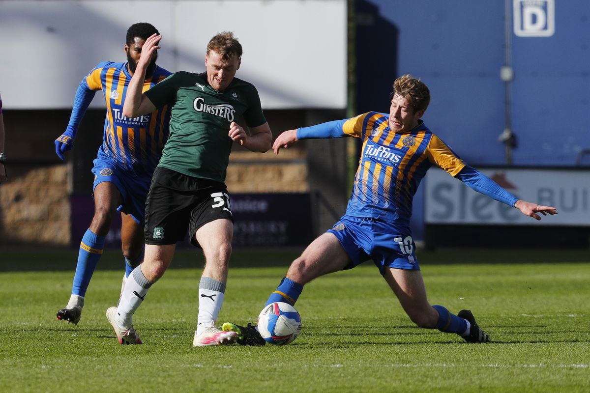Josh Vela gets stuck in during Shrewsbury's fine 3-0 win over Plymouth on Easter Monday (AMA)