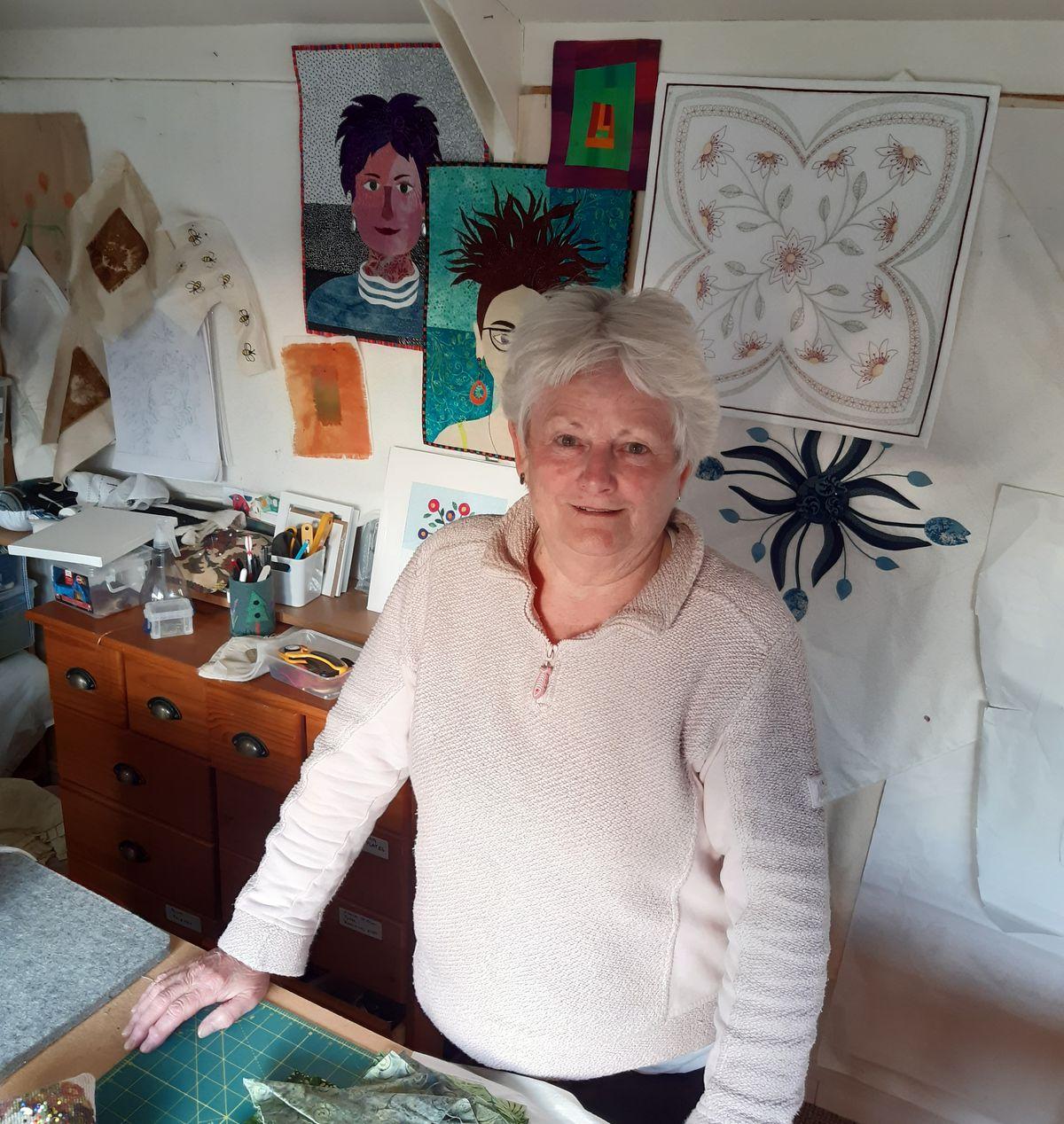 Textile artist Lesley Smith in her workshop
