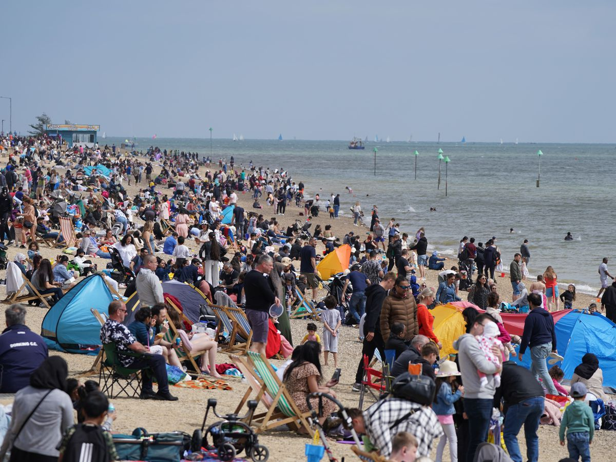 Busy scenes on Southend beach