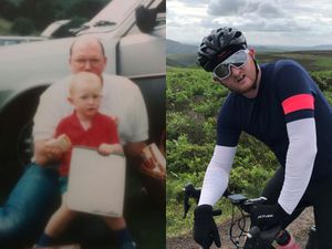 Left, a young Will with dad Steve. Right, Will Neville on the cycle ride.