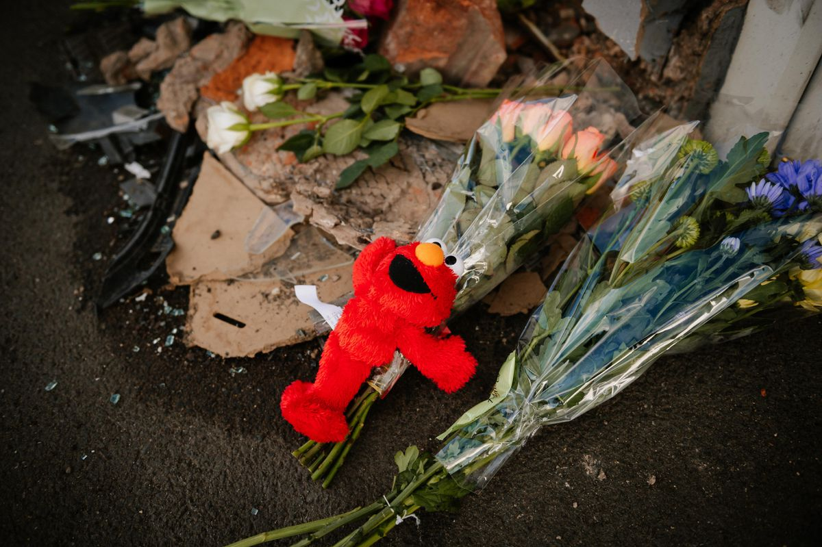 Tributes at the scene of the crash on Brownhills High Street