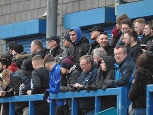 TELFORD COPYRIGHT MIKE SHERIDAN AFC Telford fans  during the Vanarama Conference North fixture between AFC Telford United and Darlington at The New Bucks Head on Saturday, March 7, 2020...Picture credit: Mike Sheridan/Ultrapress..MS201920-049.