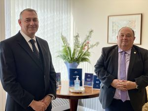 Ian McDougal, director at WRR Pugh and Son Funeral Directors in Shrewsbury with David Raybould, Willmakers of the Midlands based in Newport
