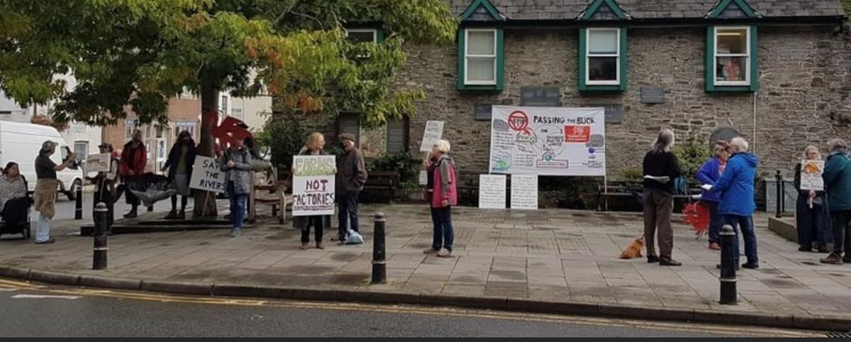 Sustainable Food Knighton protest against the 110k chicken farm planned at Llanshay. From September.