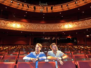 AJ & Curtis Pritchard during their first visit to the Grand Theatre, Wolverhampton, where they will be starring in Cinderella