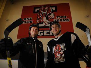 Telford Tigers head coach Tom Watkins, and Telford Tigers captain Jason Silverthorn