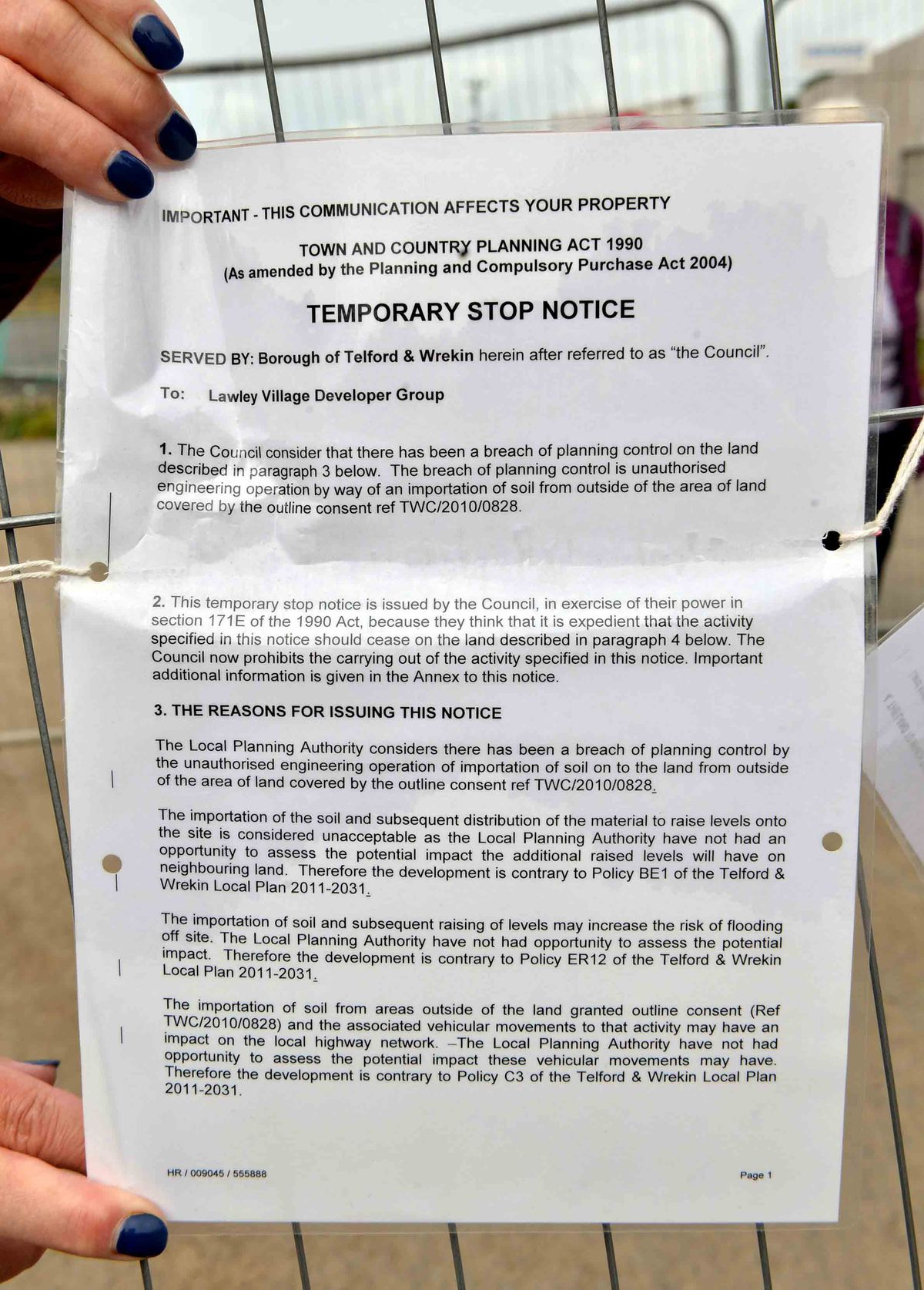 Work on Phase 11 was given a temporary stop notice by Telford & Wrekin Council in August