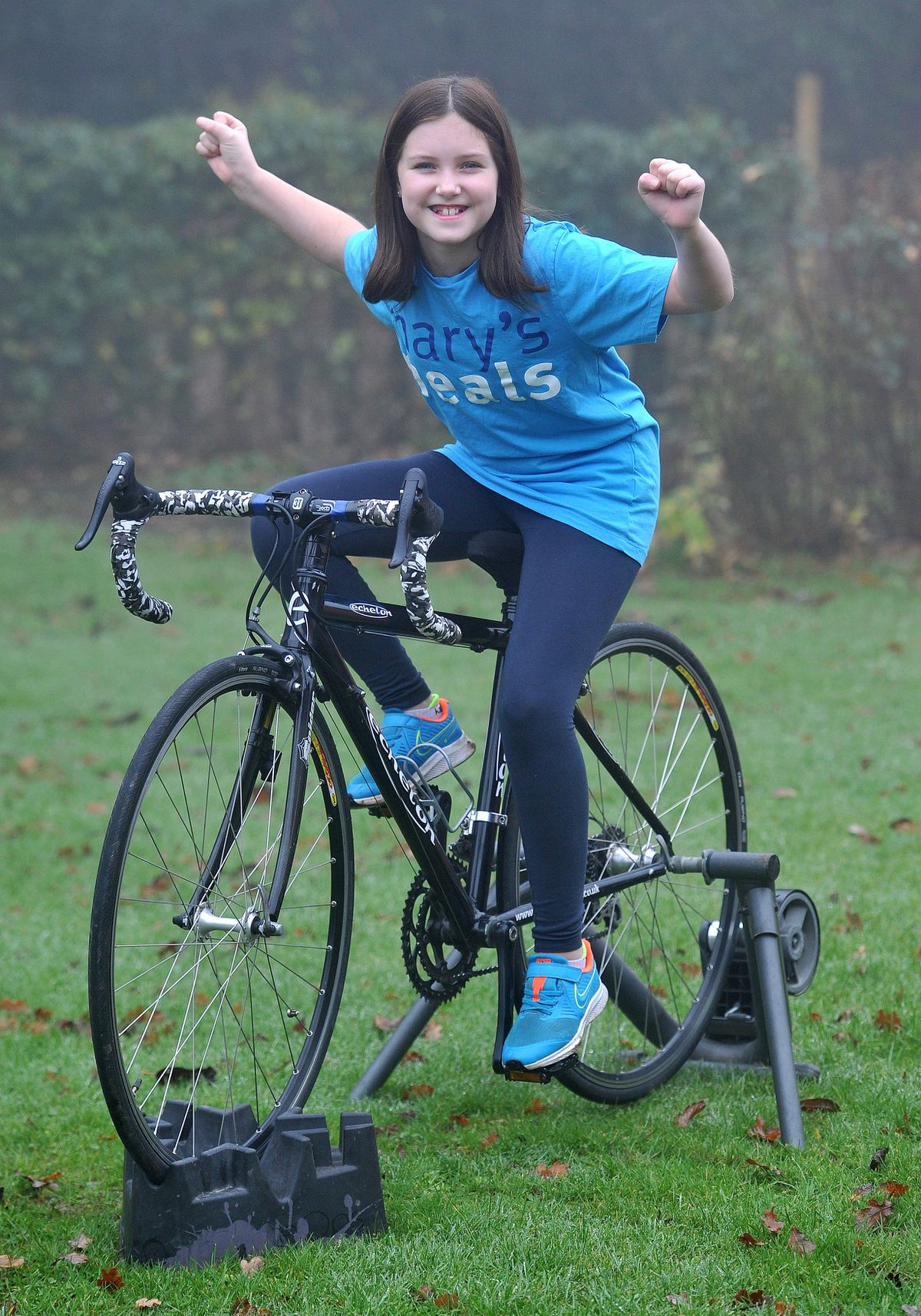 Bella Bowater, aged 10, from Craven Arms has been using now lockdown to cycle 50 miles on her turbo trainer to help a charity that provides meals in Liberia..