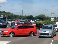 Traffic chaos at Telford retail park as road lanes closed for street light work