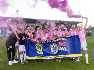 AFC Telford's youngsters celebrate. Photo: Kieren Griffin
