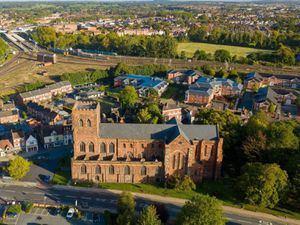Shrewsbury Abbey from the sky. Picture: Drone Rangers
