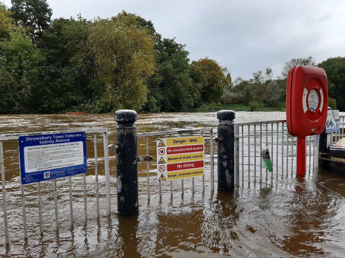 Flood barriers were up in Shrewsbury with the water rising as it worked its way downstream from Mid Wales