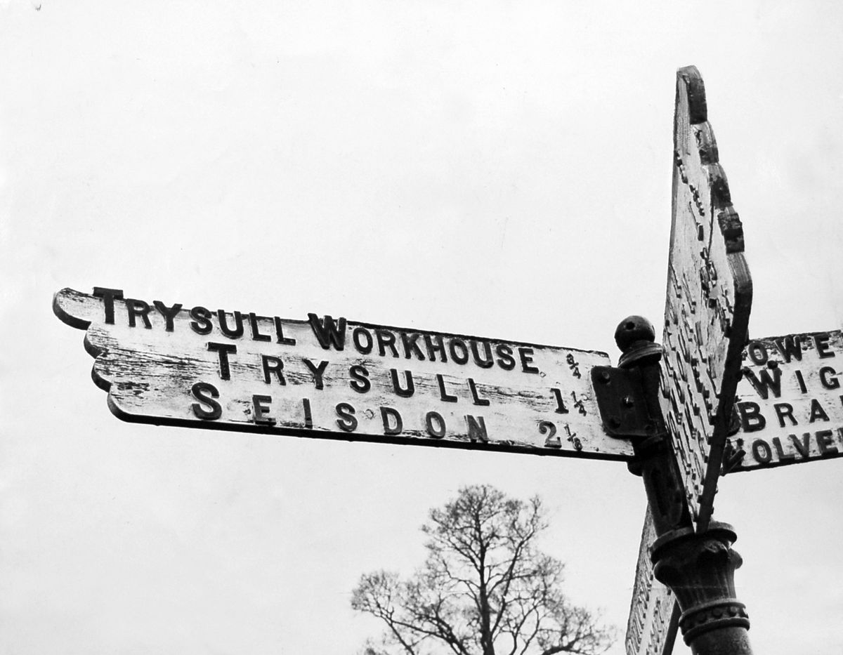 Trysull Workhouse was being flagged up by this road sign well into the 1960s, decades after its closure.