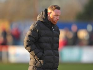 TELFORD COPYRIGHT MIKE SHERIDAN Telford boss Gavin Cowan during the Vanarama Conference North fixture between AFC Telford United and Kettering Town at Latimer Park on Saturday, December 12, 2020...Picture credit: Mike Sheridan/Ultrapress..MS2021-049.