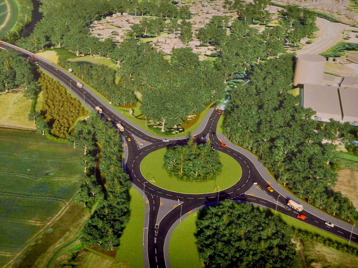 A plan of the relief road at the Holyhead Road Roundabout