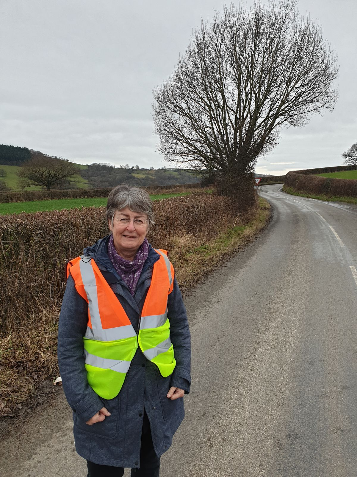 Councillor Heather Kidd at the folly junction on the B4386