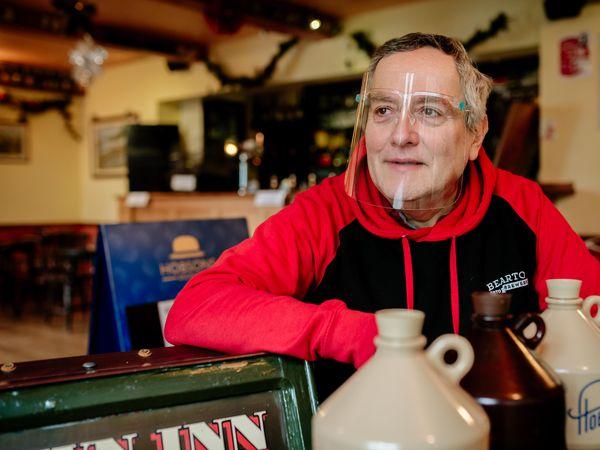 LAST COPYRIGHT SHROPSHIRE STAR JAMIE RICKETTS 08/02/2021 - Pub spread on lockdown reopening strategies overnight. In Picture: John Ellis of Crown Inn, Oakengates, Telford.