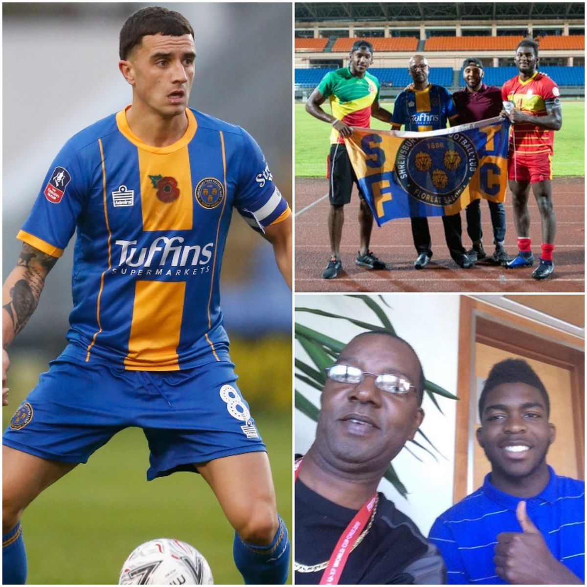 Ollie Norburn (left) is the third Shrewsbury player to be called up by Grenada. He joins Omar Beckles and Aaron Pierre, pictured top right with Cheney Joseph and his son Axel, with the Spice Boys. Ro-Shaun Williams, pictured four years ago bottom left, also qualifies (AMA)