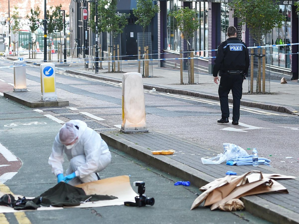 Police in Hurst Street, Birmingham, after multiple stabbings. Photo: SnapperSK