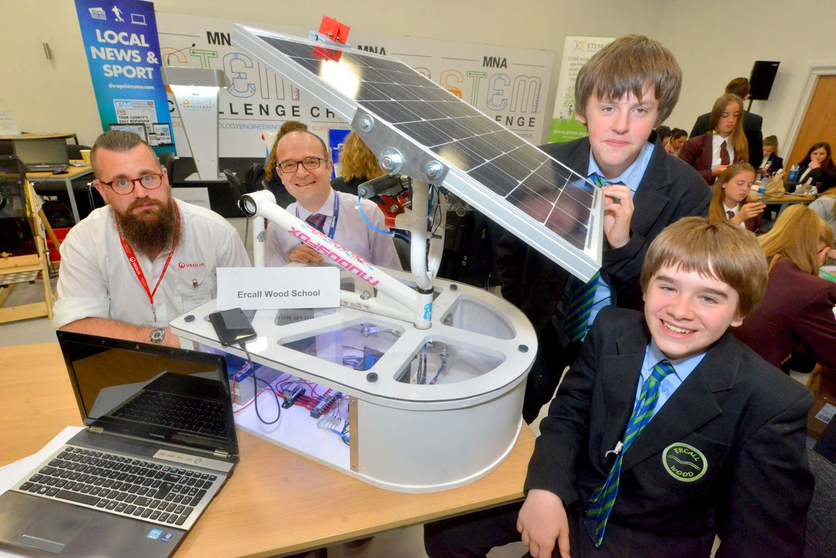 Mentor Joe Dawes from Veolia, teacher Nick Pollock, and Ercall Wood pupils George Meakin, 13, and Nathaniel Thomas, 13