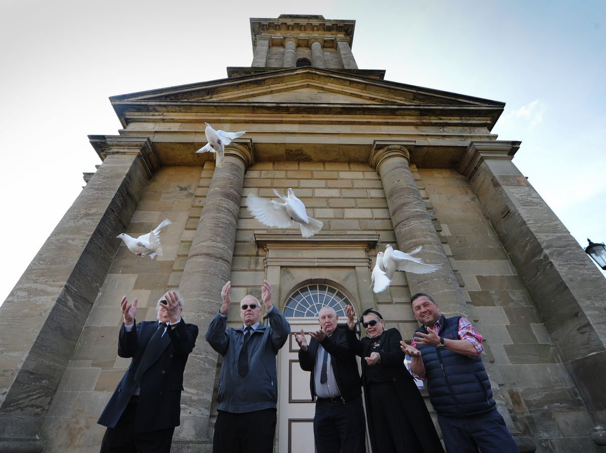 Pigeons were released as a tribute to Prince Philip at St Mary's Church in Bridgnorth