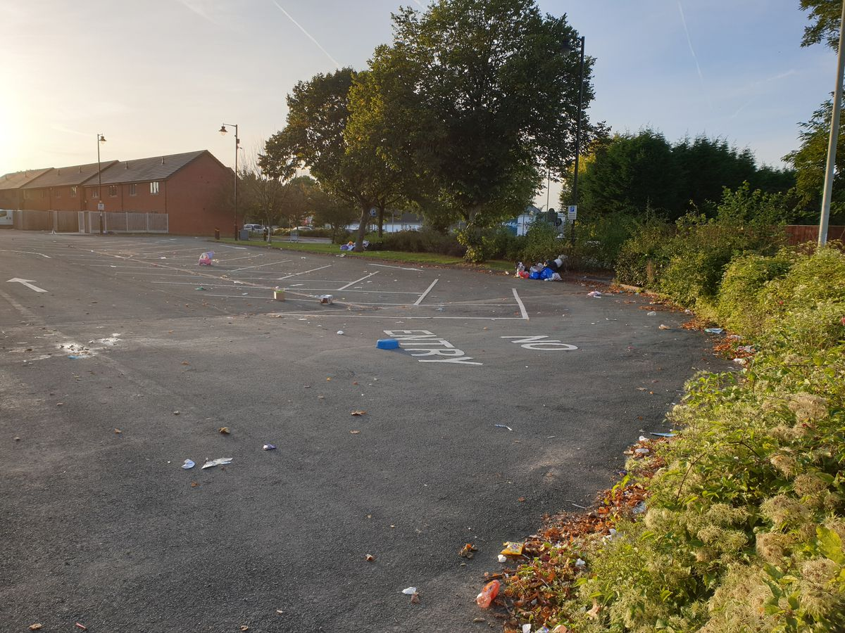 Rubbish left in the car parks