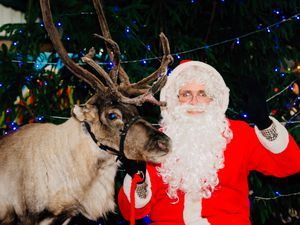 In 2017: Dasher the reindeer and Father Christmas at Hoo Farm