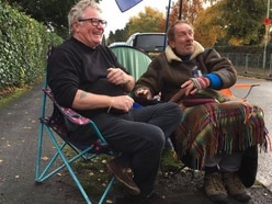 Comedian Jim Davidson in Newport to visit hunger striker Gus