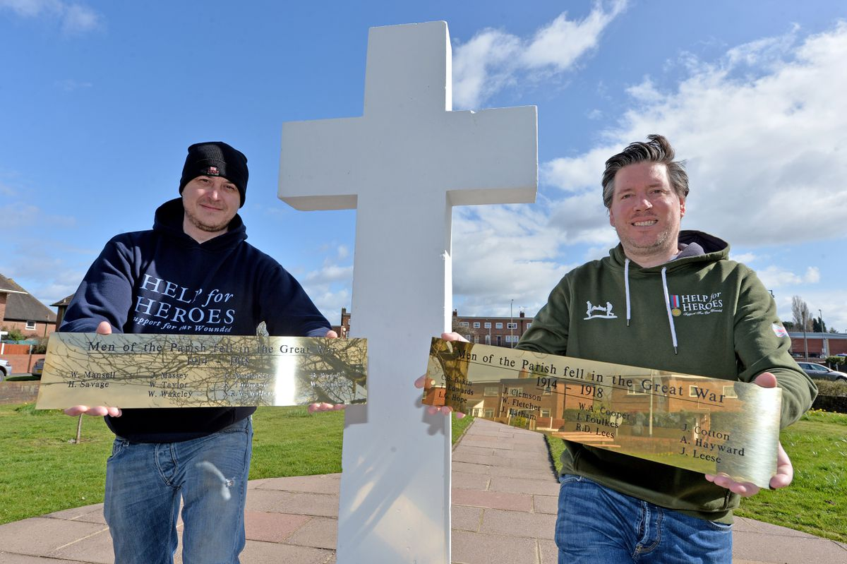 Jay Gough, left, and Brett Murray have arranged for new plaques paying tribute to veterans at the area's war memorial