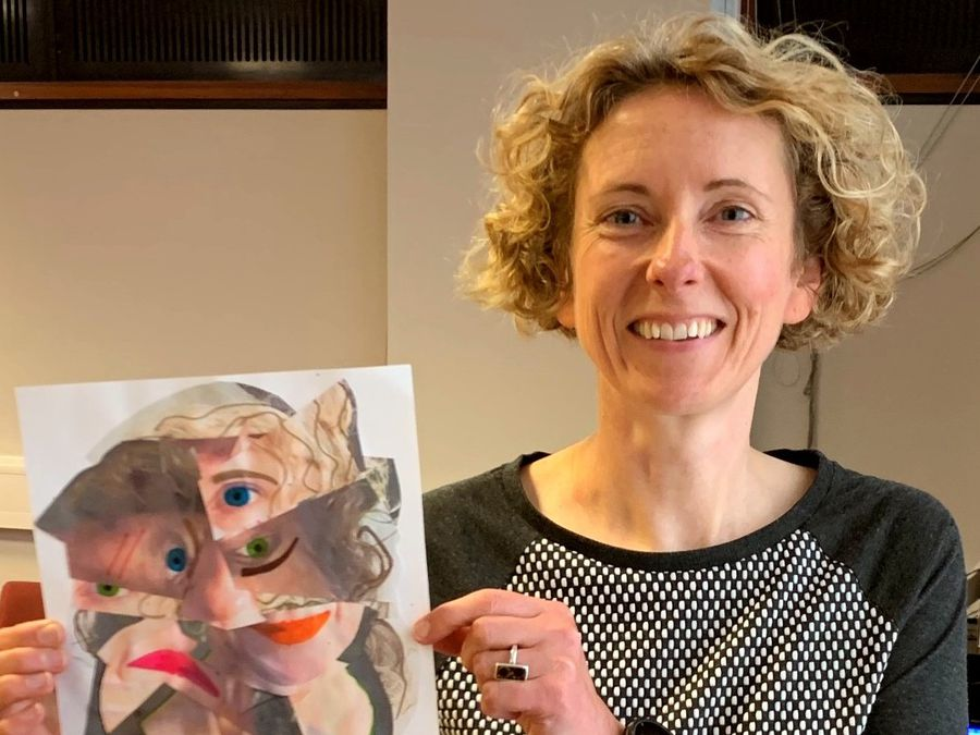 Kate Garner, of Shropshire Council, showcases a Picasso portrait she created
