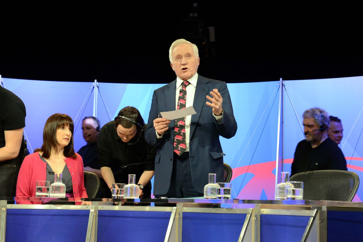 Dimbleby chats to the audience at The Place in Oakengates as the Question Time panellists get ready.